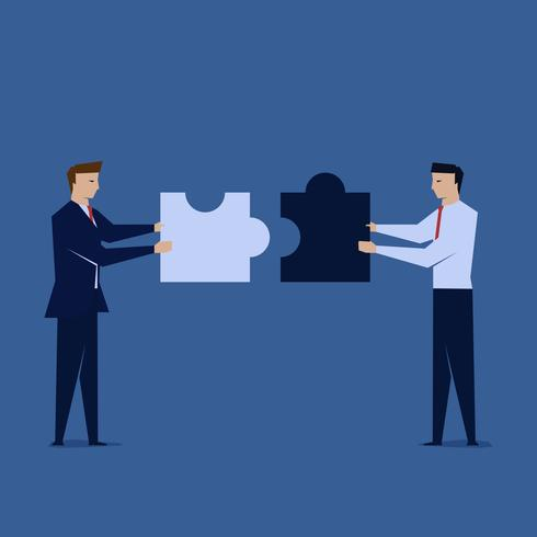 Two businessman unite the puzzle. Symbol of teamwork. vector