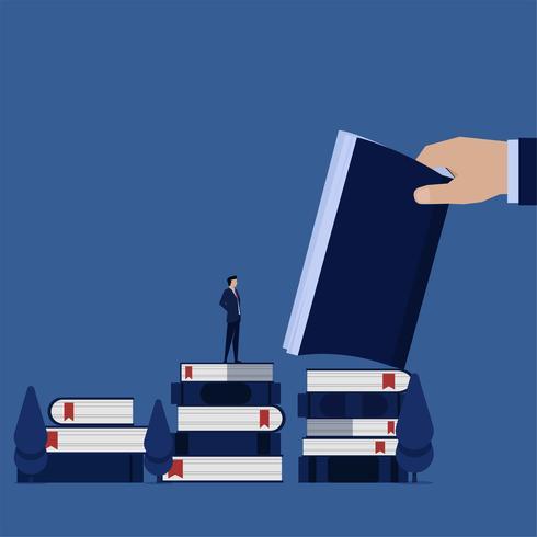 Hombre de negocios de pie sobre libros y lee vector