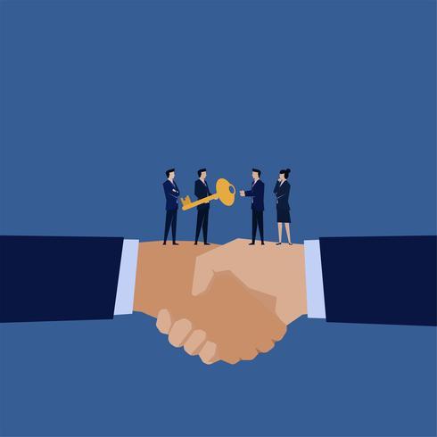 Gerente de negocios dando clave a otros