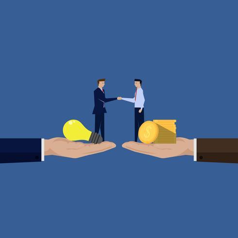 Deux hommes d'affaires se serrant la main et apportant idée et dollar