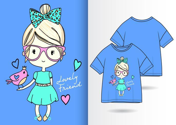 Diseño de camiseta Lovely Girl Hand Drawn Girl vector