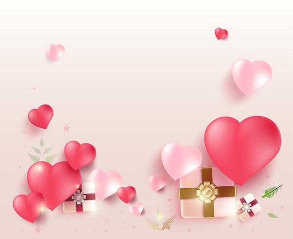 Tarjeta de felicitación del día de San Valentín con regalo y corazón vector