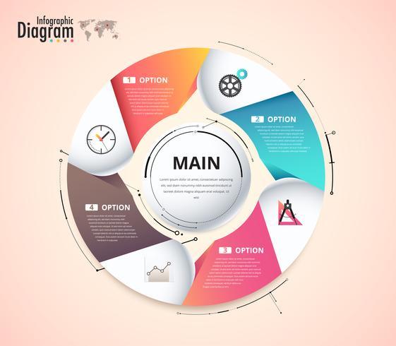 Diagrama infográfico circular para presentación vector