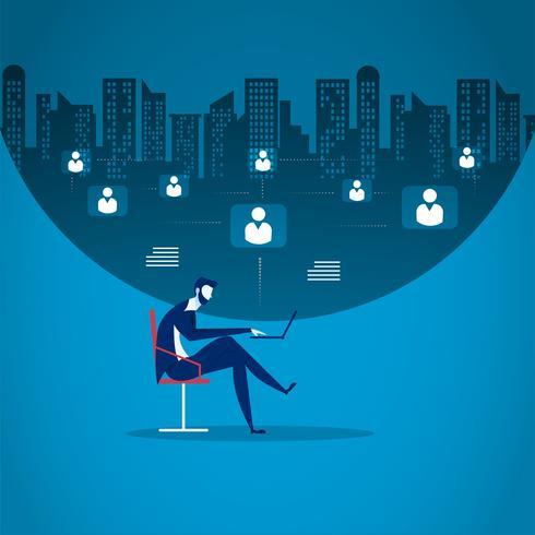 Office worker network marketing on blue background.