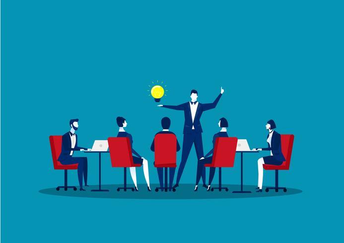 Grupo de hombres de negocios haciendo discutir la comunicación del trabajo en equipo vector