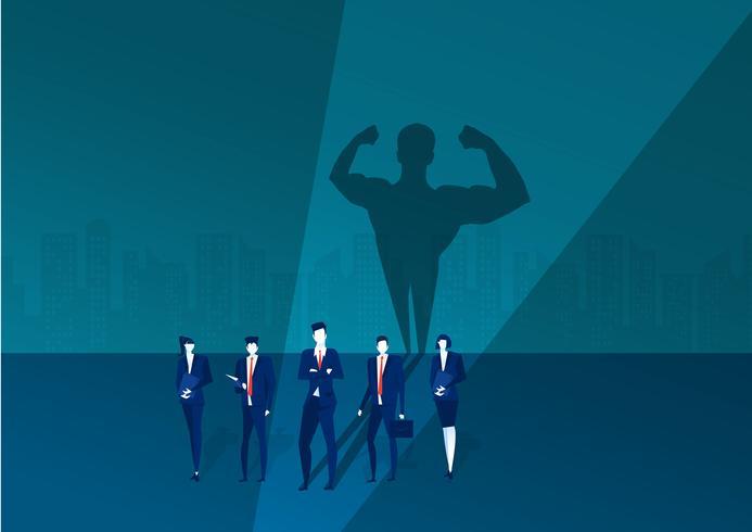 superheld zakenman staat voor show met sterk silhouet