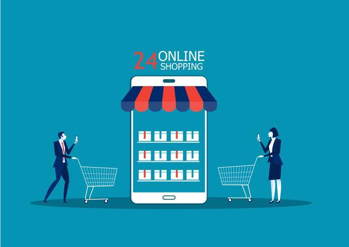 Gente de negocios, hombre y mujer compran en la tienda en línea usando un teléfono inteligente vector