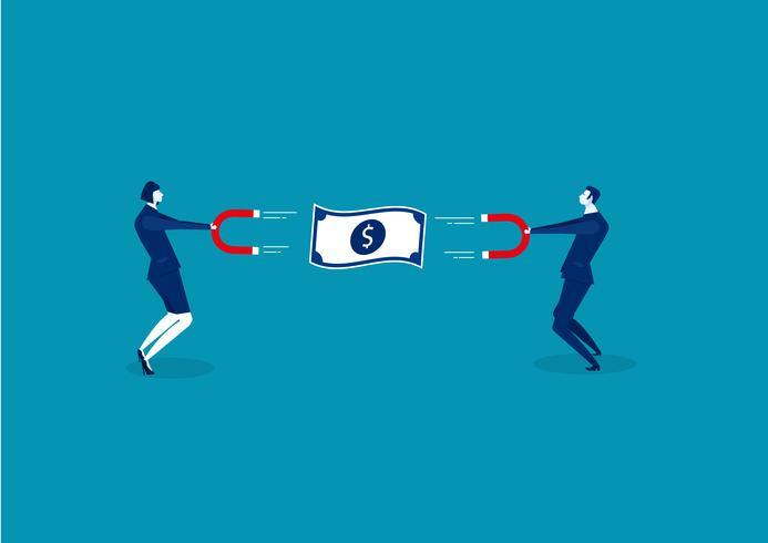 Uomo e donna di affari che tengono un grande magnete e che attraggono soldi vettore