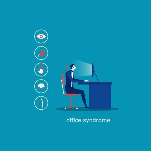 affärsman sitter på stol, kontorsyndrom infographic