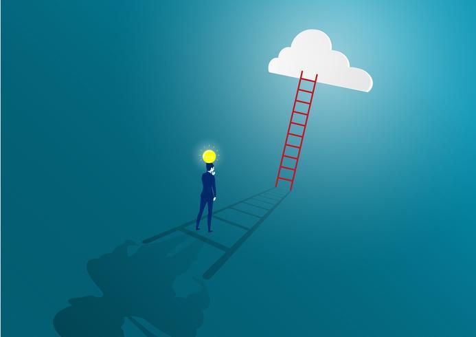 Empresário, olhando uma escada para a nuvem vetor
