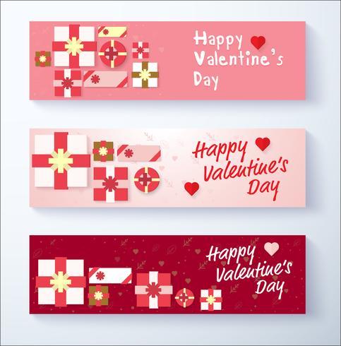 Feliz día de San Valentín banner fondo con caja de regalo vector