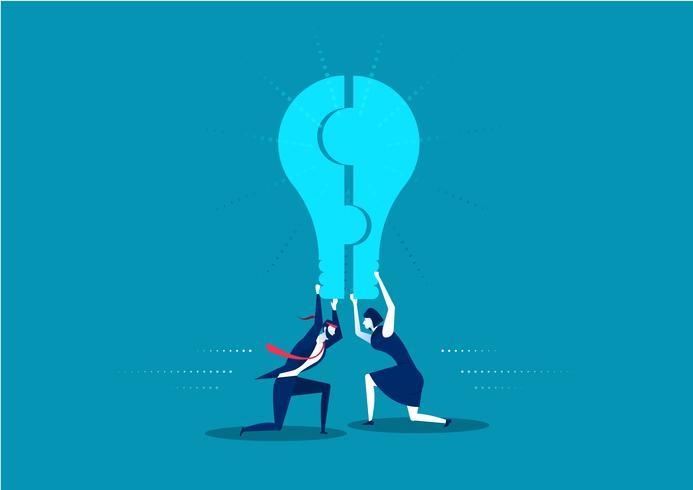homem de negócios e mulher segurando uma lâmpada de peça de quebra-cabeça vetor