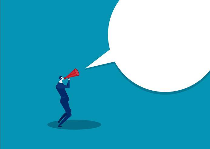 L'uomo d'affari comunica tramite un megafono