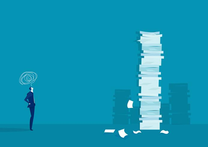 very tall paper stack vs man on blue background