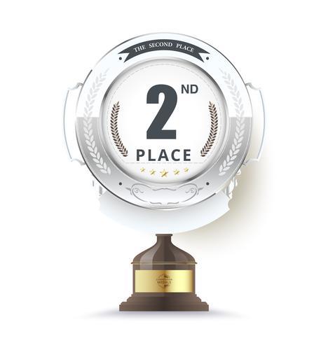 Trophée d'argent pour la deuxième place vecteur