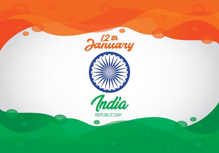 Cor da onda abstrata da bandeira do dia da independência de India vetor