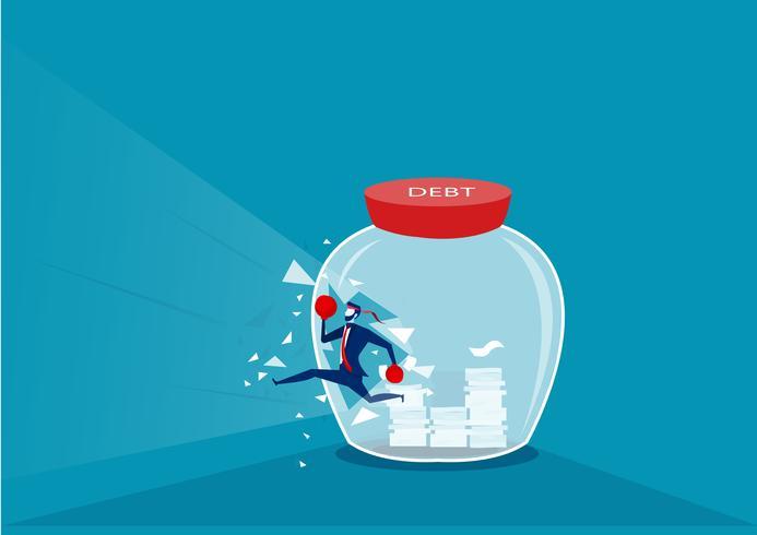 Empresário, quebrando a garrafa de vidro para o sucesso sem dívidas vetor