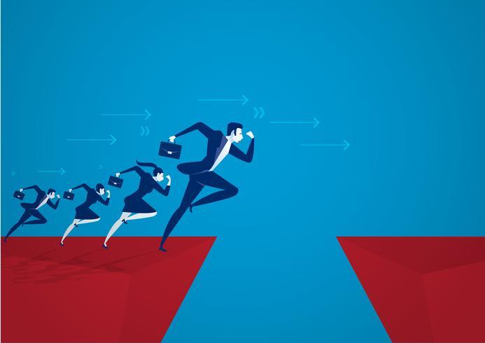 Hombres de negocios saltando sobre el abismo. Concepto de éxito empresarial, riesgo. vector