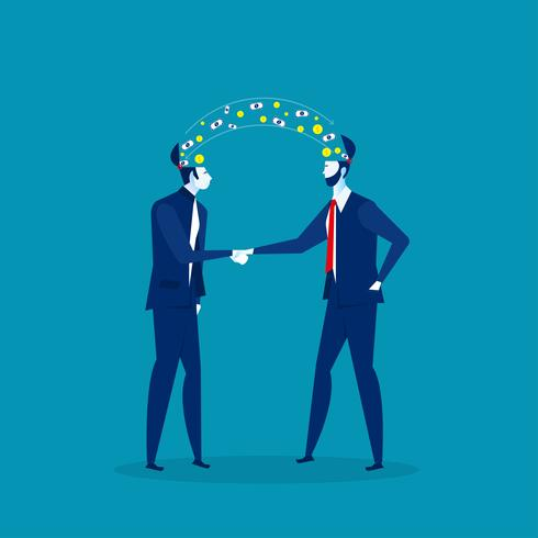 two businessmen share ideas vector