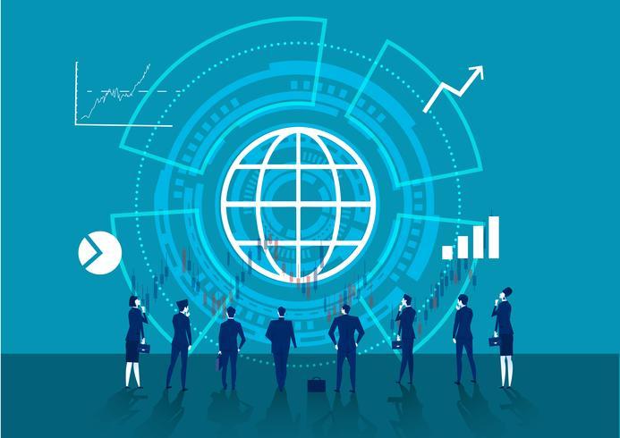 Muitos negócios olham para as setas do gráfico vetor