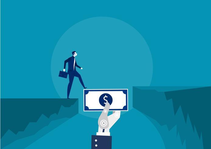 hombre de negocios usando dinero como puente hacia el éxito vector