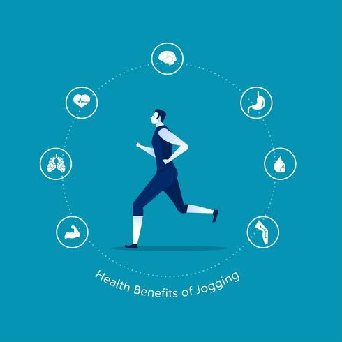 Beneficios de correr o trotar infografía vector