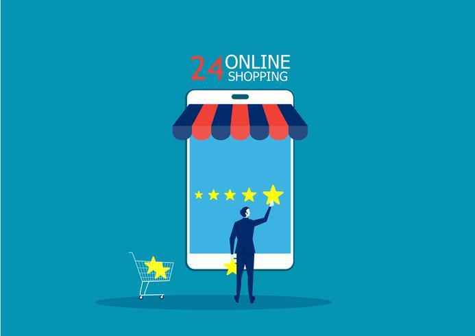 Empresária, segurando uma estrela dourada na mão, para dar cinco estrelas enquanto fazia compras on-line vetor