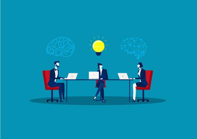 reunión de negocios en la mesa crear idea, hombre pensante con bombilla de idea y colegas