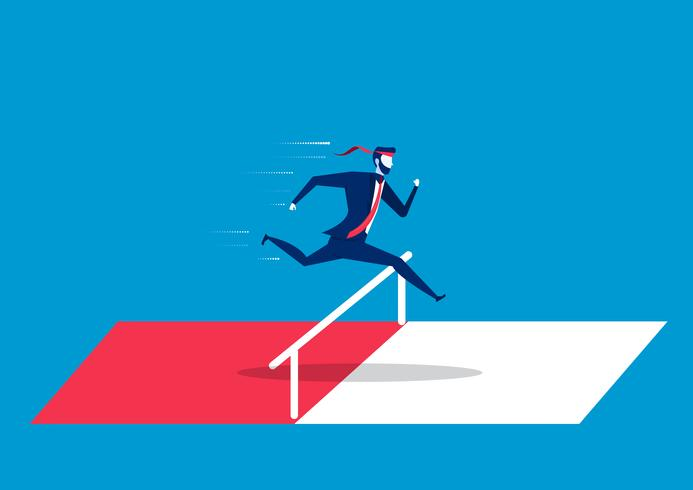 Businessman jumping over hurdles or obstacles vector