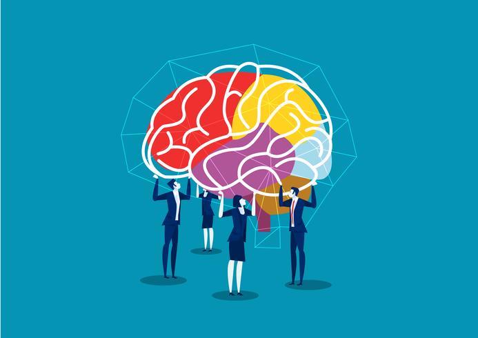 equipe de negócios levantar cérebro para conectar a idéia vetor