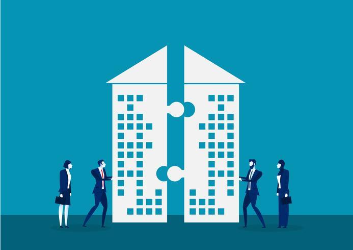 Affärsman push företag för att investera tillsammans