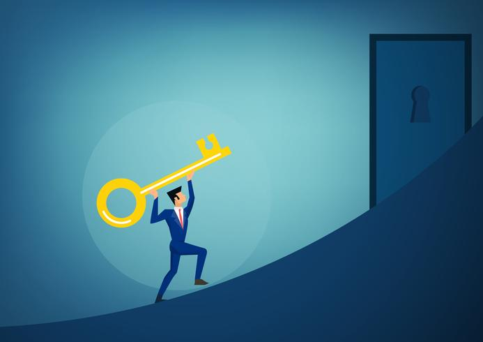 Empresários, segurando a chave do sucesso, avançando para abrir o buraco da fechadura futuro brilhante. vetor