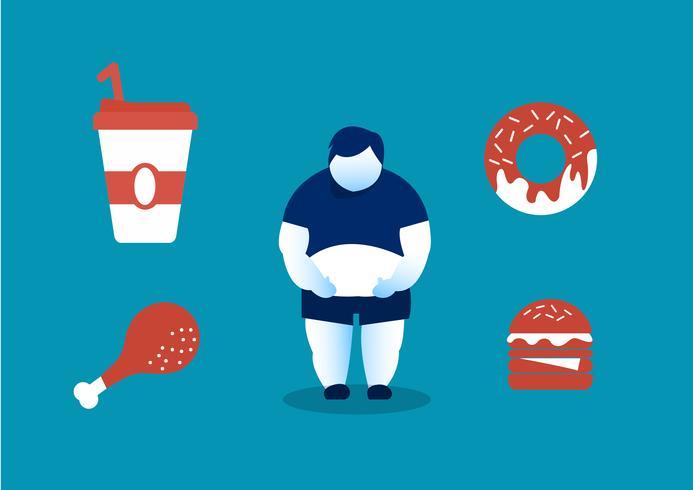 humanos comiendo comida chatarra y los peligros de la grasa del vientre vector