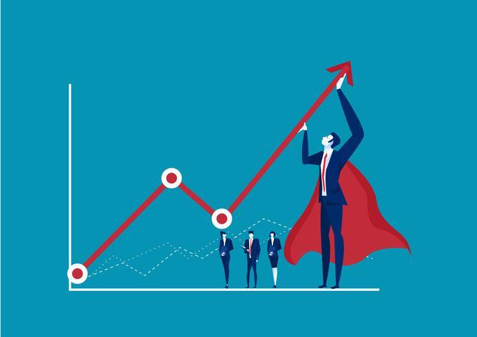 Héroe empresario tratando de doblar una flecha estadística roja hacia arriba sobre fondo azul. vector