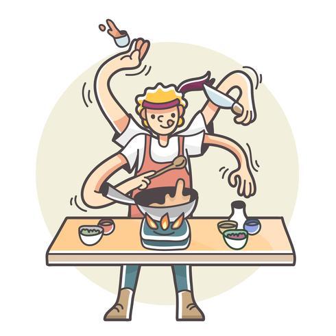 Hombre con múltiples brazos cocinando ilustración multitarea vector