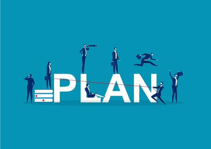 Concepto con empresarios que realizan diferentes actividades en torno a la palabra PLAN vector