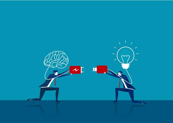 dos negocios conectan el cerebro del enchufe y la bombilla vector