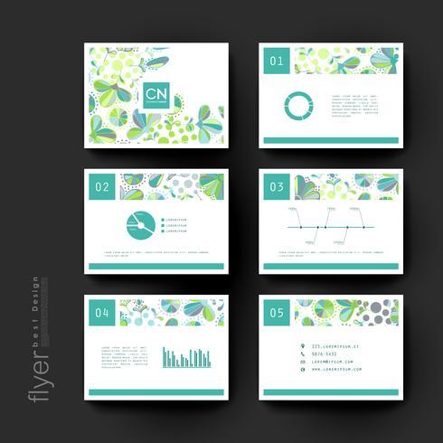 Conjunto de modelos de brochura floral verde vetor