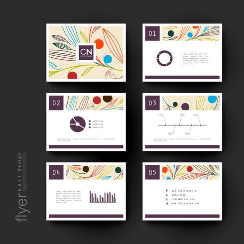 Conjunto de modelos de brochura de linha floral moderna vetor