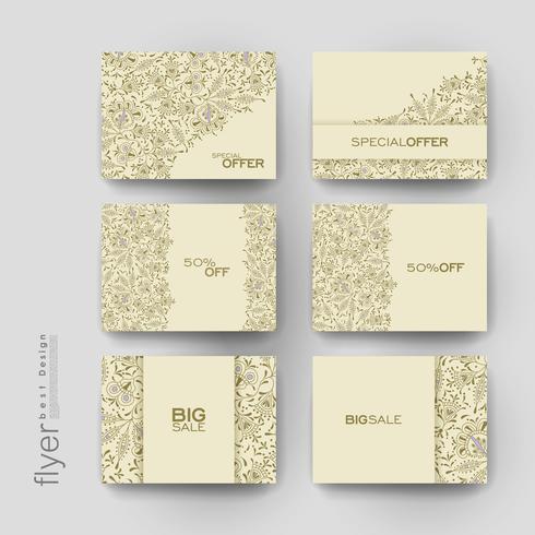 Conjunto de modelos de etiqueta de venda promocional floral vetor