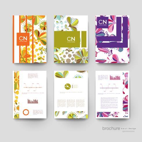Conjunto de modelos de Brochura Vertical Floral colorido vetor