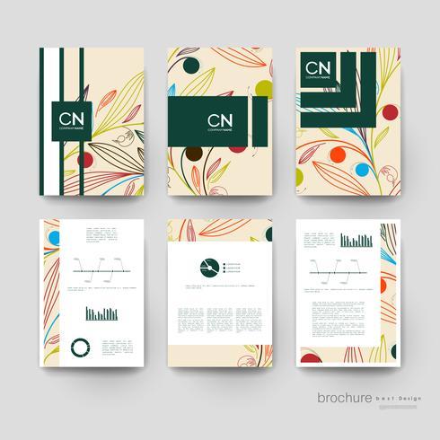Conjunto de modelos de apresentação de brochura de linha floral colorida vetor
