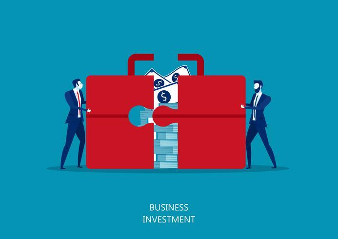 zwei Manager schieben einen riesigen Koffer oder eine Aktentasche mit Geld. vektor