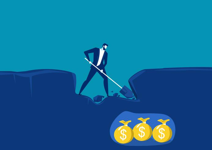 uomo d'affari scavando con la pala e molto vicino al successo di trovare denaro oro sotto terra. vettore