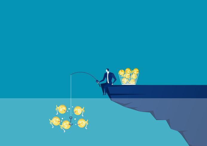 Hombre de negocios sentado en el borde del acantilado con caña de pescar atrapar dinero vector