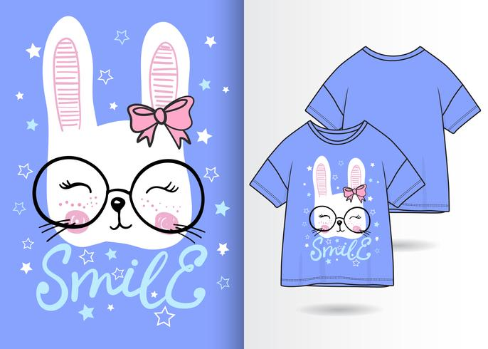 Hand drawn cute bunny with t shirt design vector