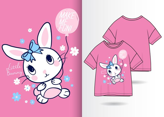 Little Bunny Hand Drawn T Shirt Design vector