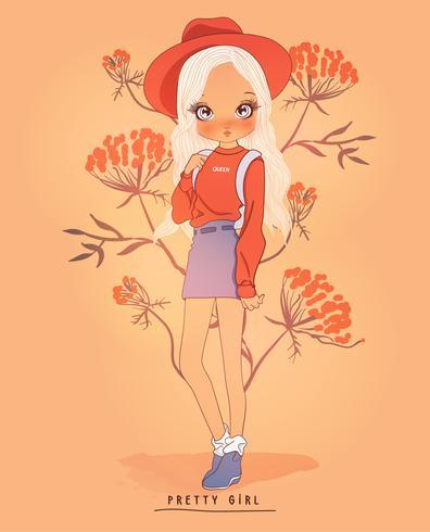 Cappello e gonna d'uso della ragazza sveglia disegnata a mano con il fondo del fiore