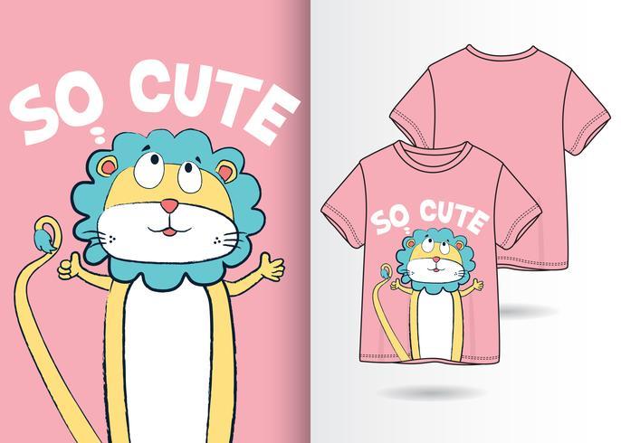 Diseño de camiseta dibujada a mano de león tan lindo