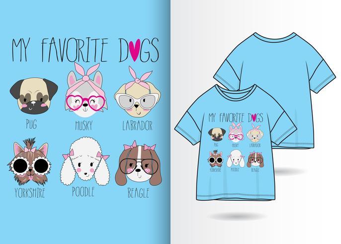 Meus cães favoritos mão desenhada camiseta Design vetor